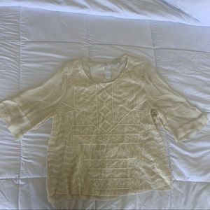 Sheer embroidered blouse size L Lucky Brand